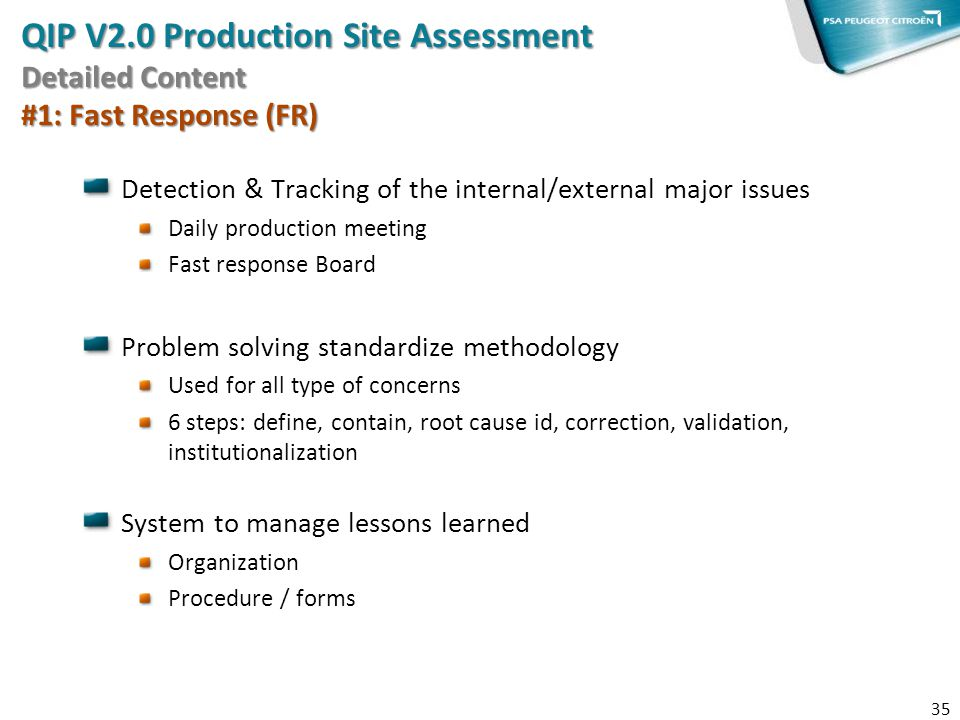 QIP V2.0 Production Site Assessment Detailed Content #1: Fast Response (FR)