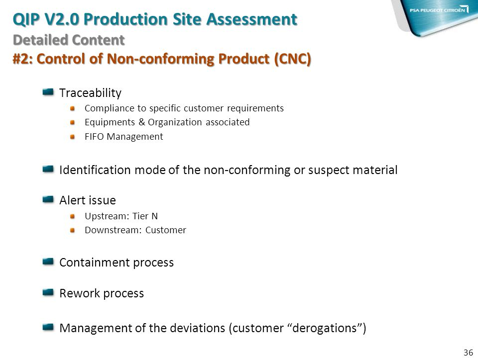 QIP V2.0 Production Site Assessment Detailed Content #2: Control of Non-conforming Product (CNC)