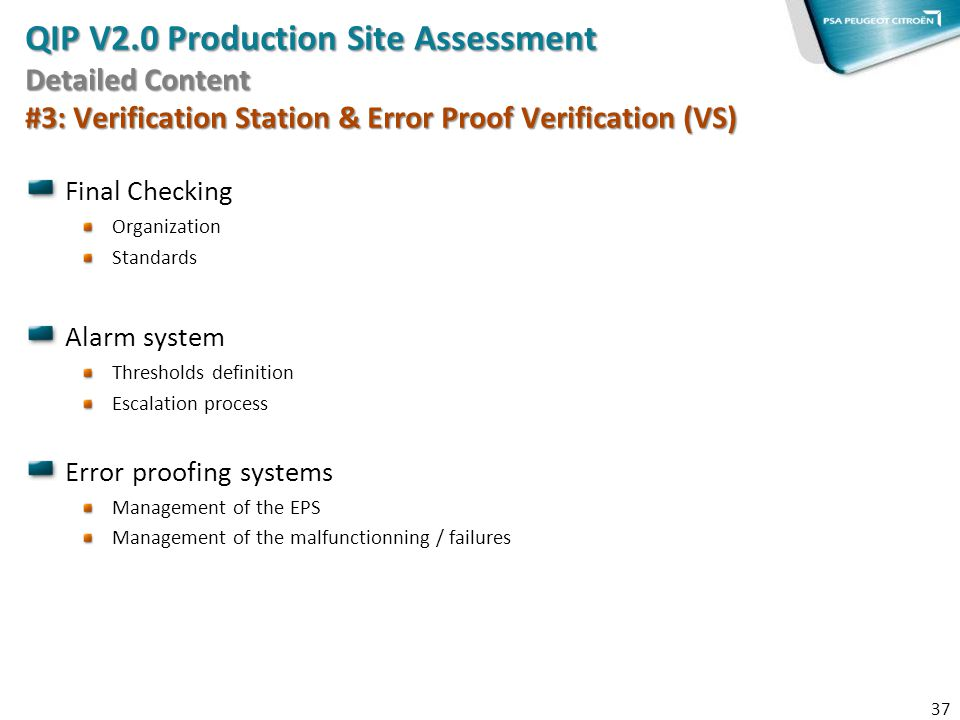 QIP V2.0 Production Site Assessment Detailed Content #3: Verification Station & Error Proof Verification (VS)