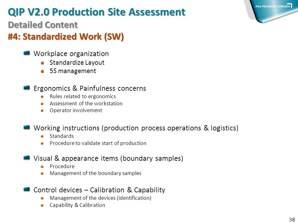 QIP V2.0 Production Site Assessment Detailed Content #4: Standardized Work (SW)