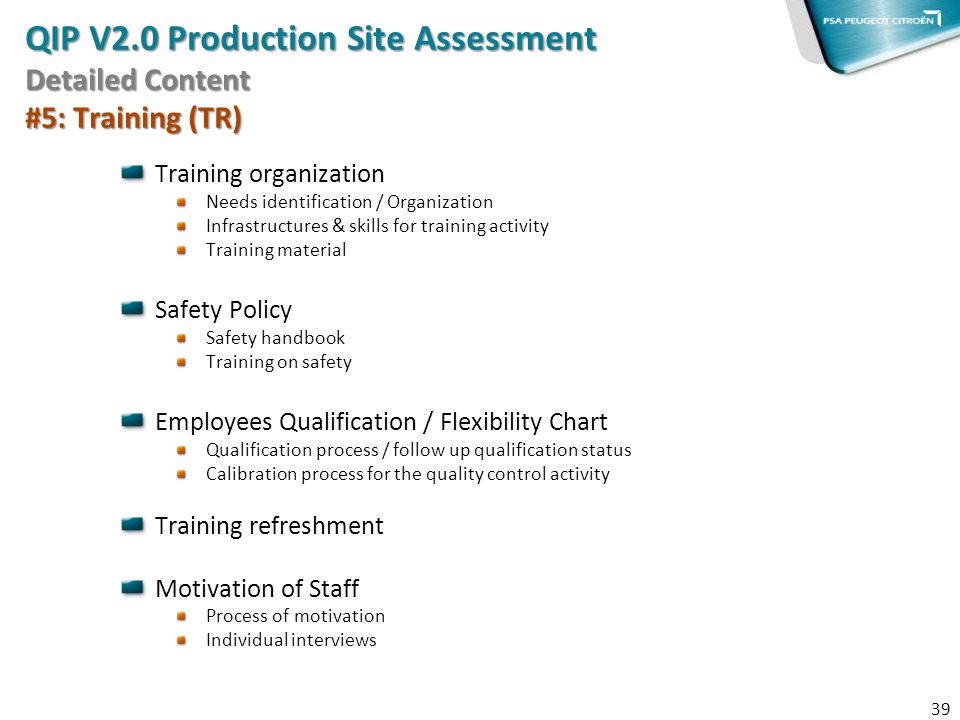 QIP V2.0 Production Site Assessment Detailed Content #5: Training (TR)