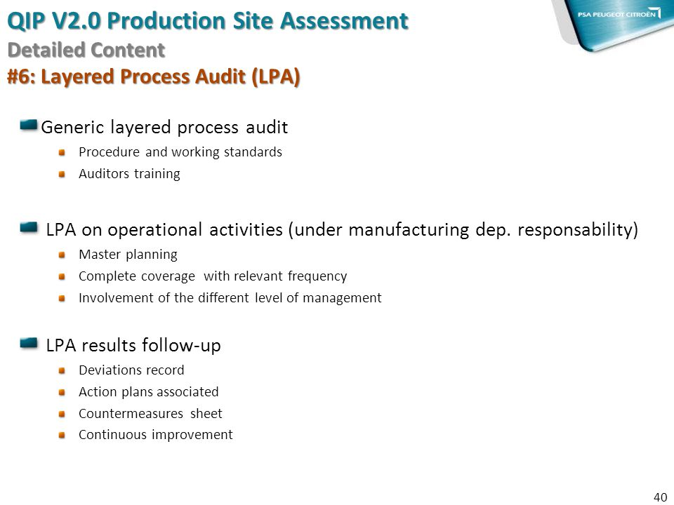 QIP V2.0 Production Site Assessment Detailed Content #6: Layered Process Audit (LPA)