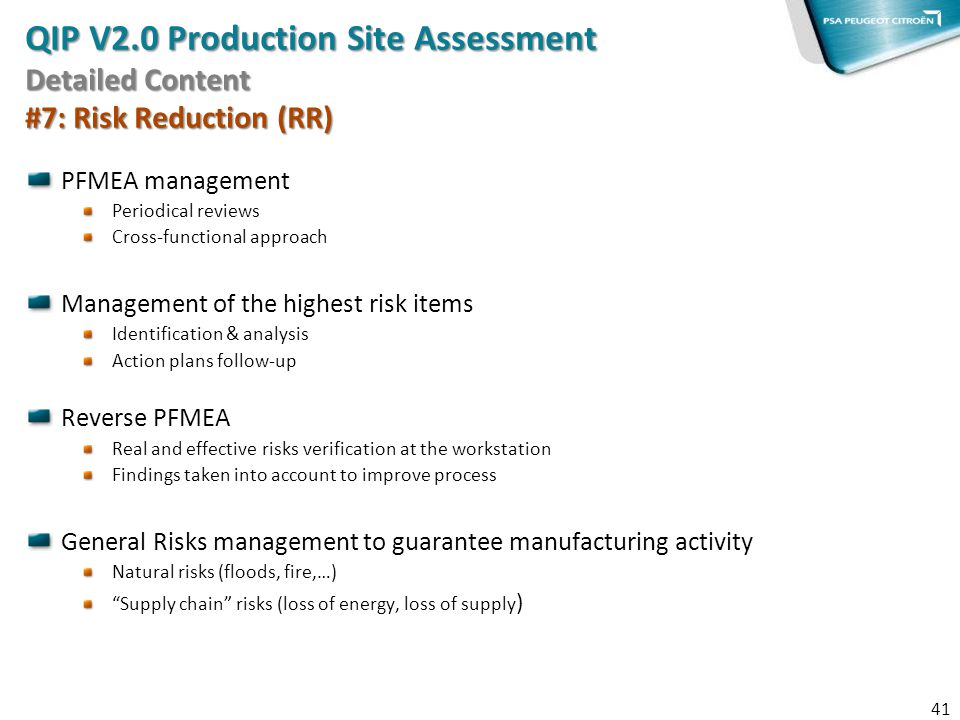 QIP V2.0 Production Site Assessment Detailed Content #7: Risk Reduction (RR)