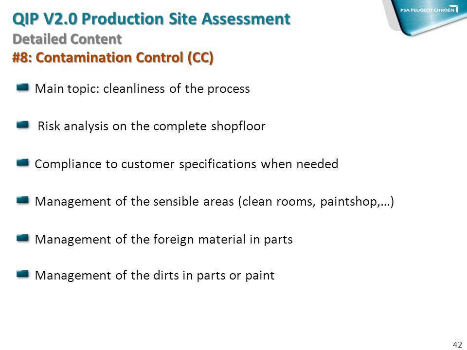 QIP V2.0 Production Site Assessment Detailed Content #8: Contamination Control (CC)