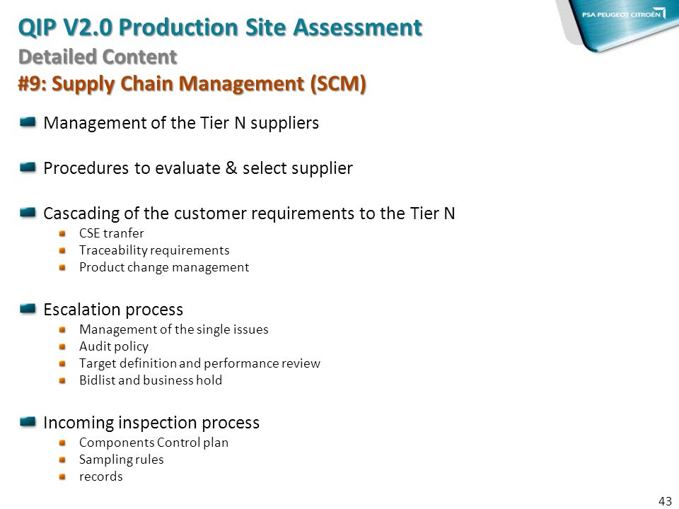QIP V2.0 Production Site Assessment Detailed Content #9: Supply Chain Management (SCM)