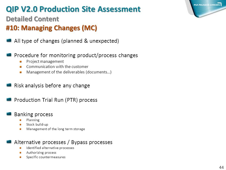 QIP V2.0 Production Site Assessment Detailed Content #10: Managing Changes (MC)
