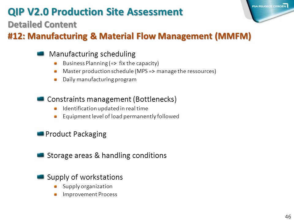 QIP V2.0 Production Site Assessment Detailed Content #12: Manufacturing & Material Flow Management (MMFM)