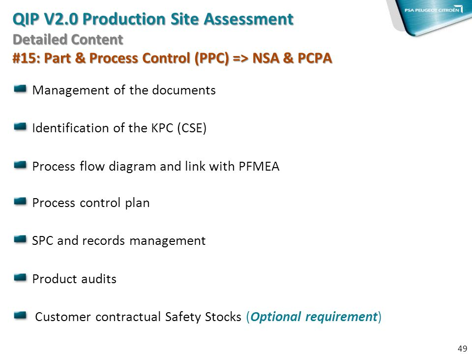 QIP V2.0 Production Site Assessment Detailed Content #15: Part & Process Control (PPC) => NSA & PCPA