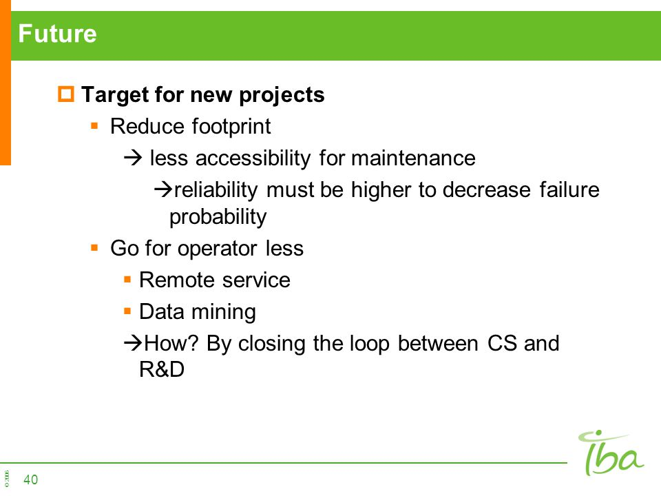Future Target for new projects Reduce footprint