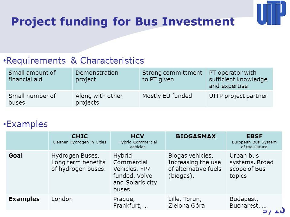 Project funding for Bus Investment