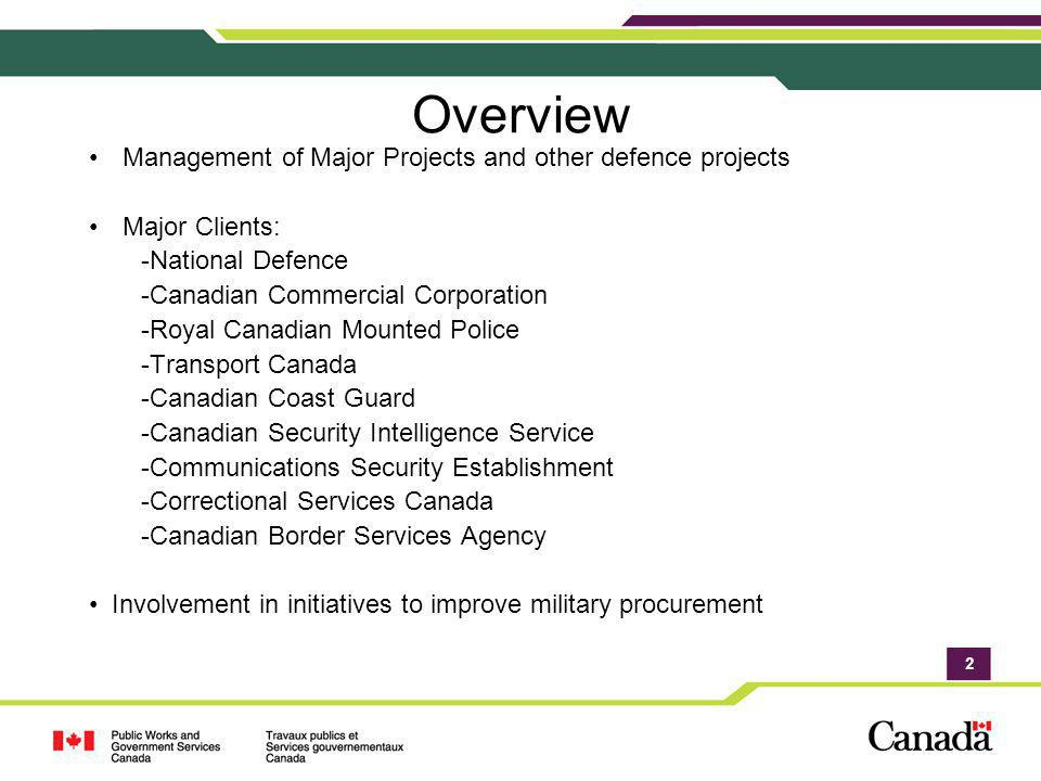 Overview Management of Major Projects and other defence projects