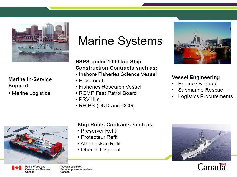 Marine Systems NSPS under 1000 ton Ship Construction Contracts such as: Inshore Fisheries Science Vessel.