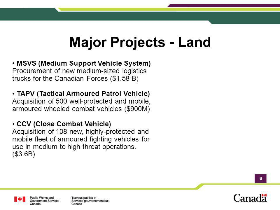 Major Projects - Land MSVS (Medium Support Vehicle System) Procurement of new medium-sized logistics trucks for the Canadian Forces ($1.58 B)