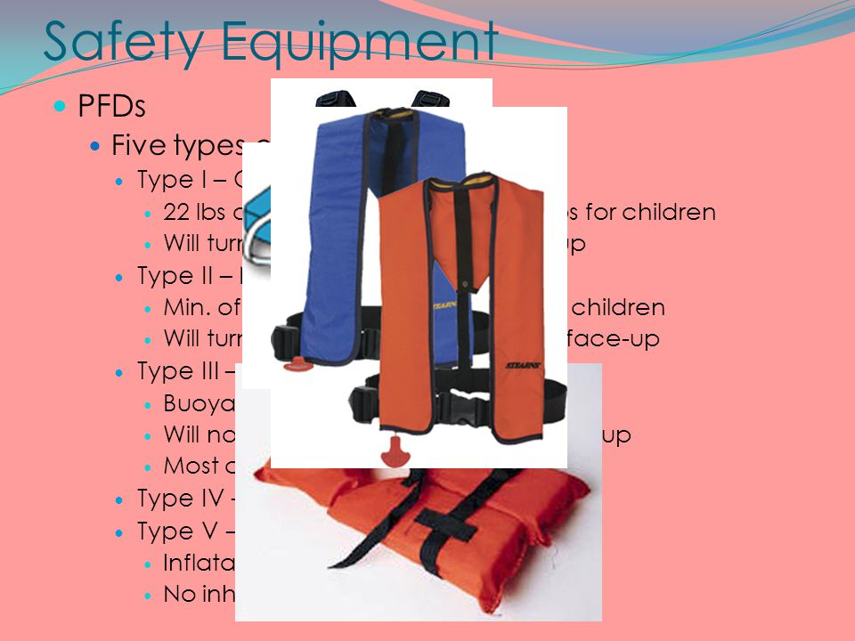 Safety Equipment PFDs Five types of PFDs Type I – Offshore Life jacket