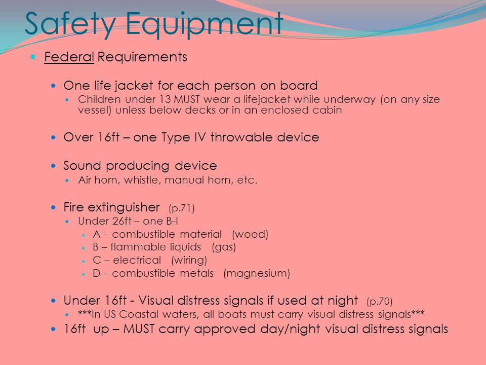 Safety Equipment Federal Requirements