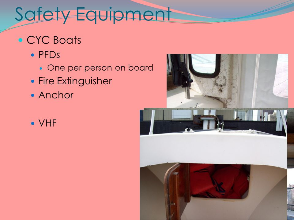 Safety Equipment CYC Boats PFDs Fire Extinguisher Anchor VHF