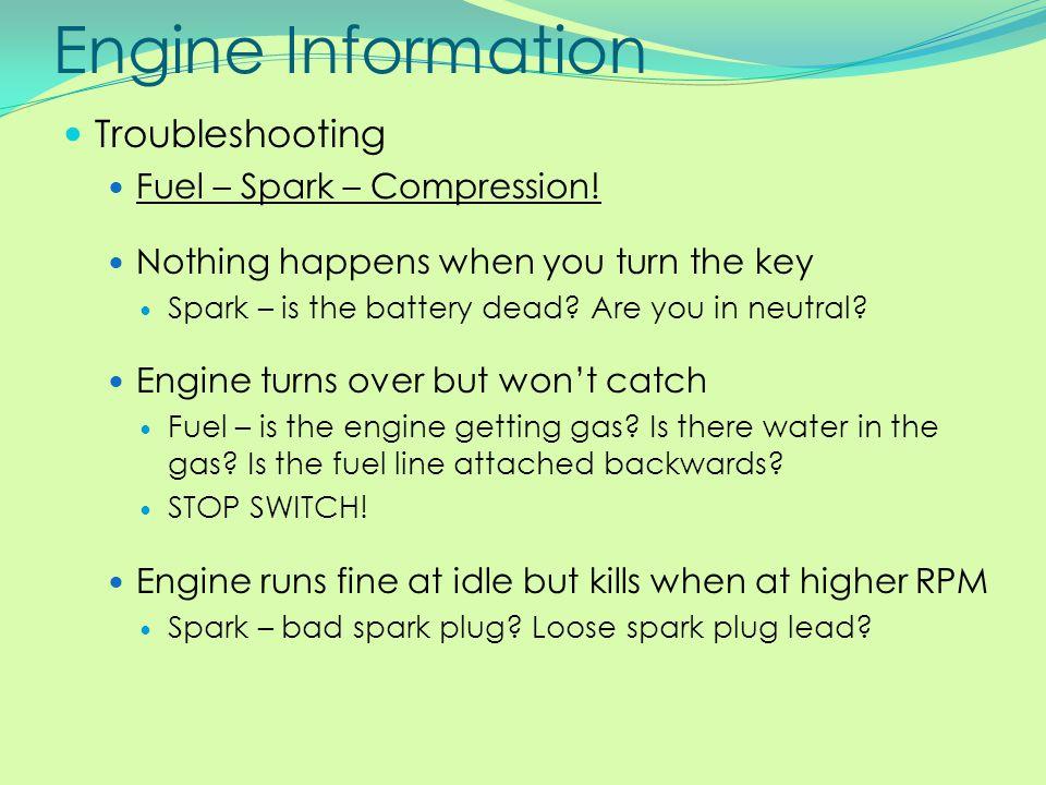Engine Information Troubleshooting Fuel – Spark – Compression!