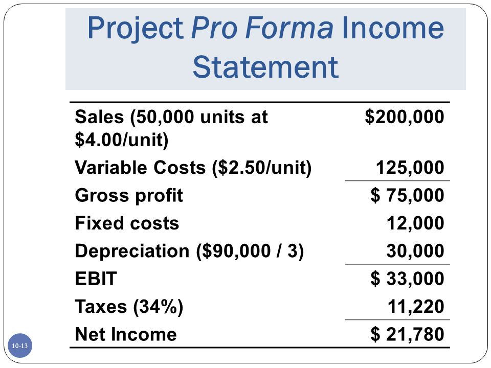 Project Pro Forma Income Statement