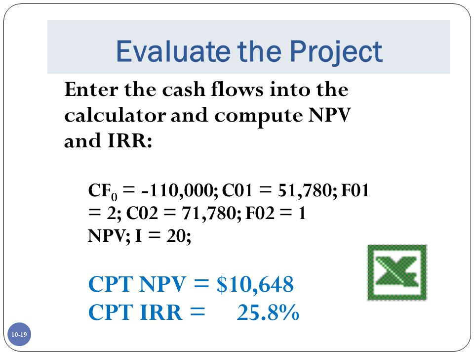 Evaluate the Project CPT NPV = $10,648 CPT IRR = 25.8%