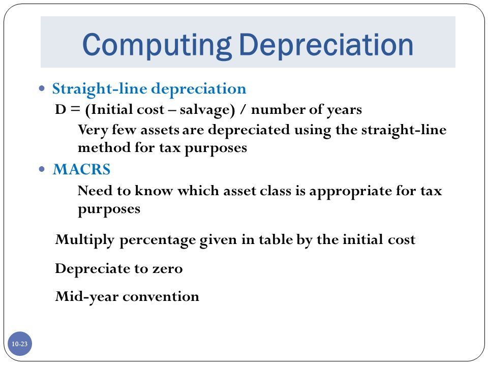 Computing Depreciation