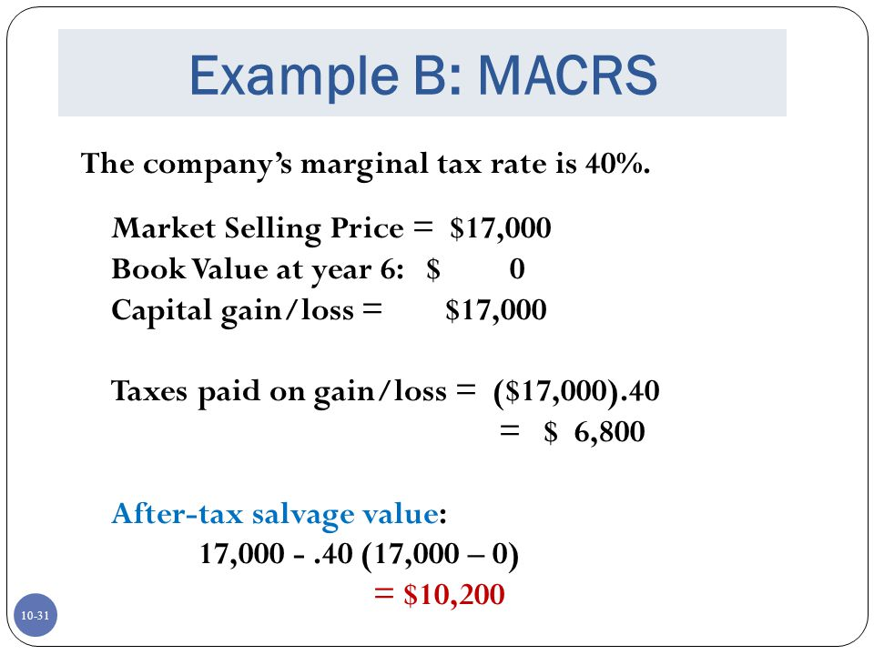 Example B: MACRS The company's marginal tax rate is 40%.