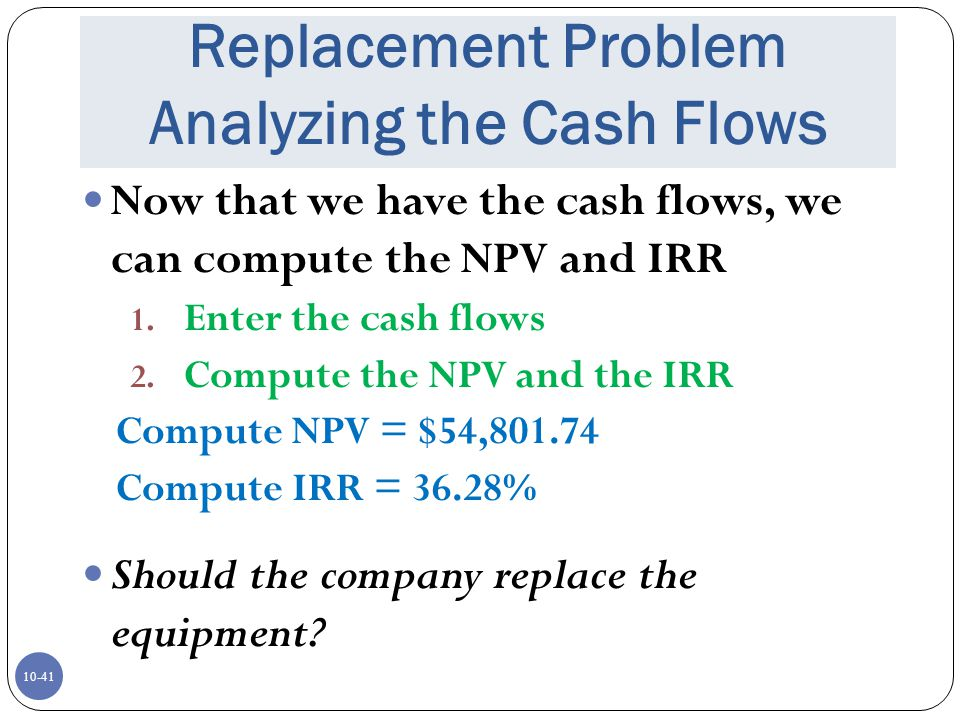 Replacement Problem Analyzing the Cash Flows