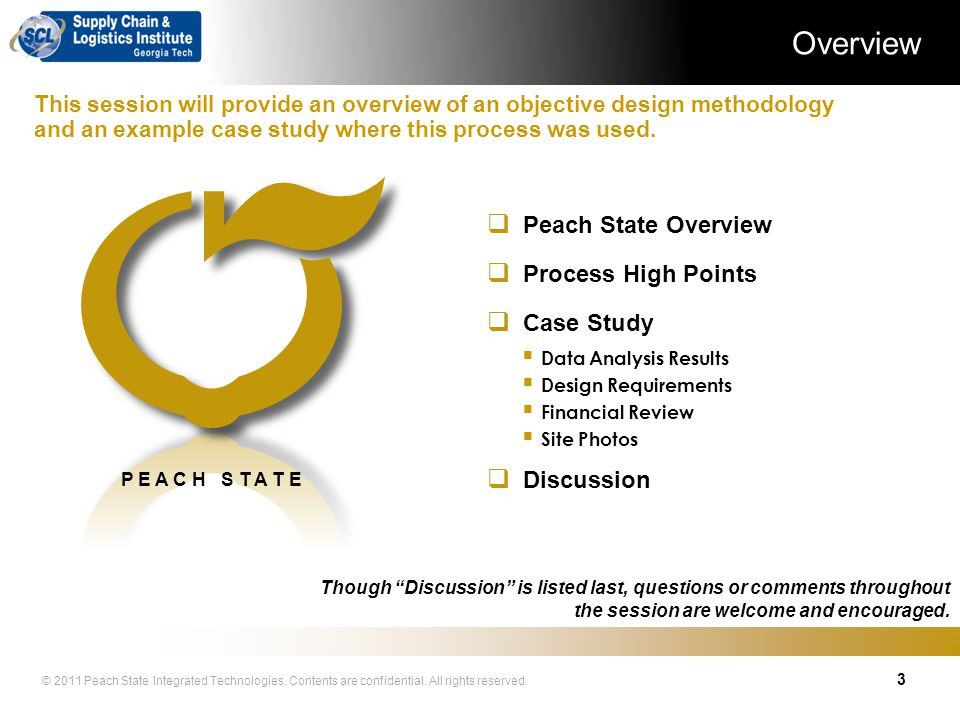 Overview Peach State Overview Process High Points Case Study
