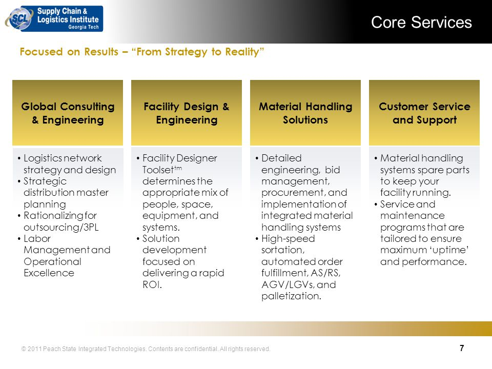 Core Services Focused on Results – From Strategy to Reality