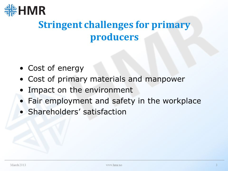 Stringent challenges for primary producers