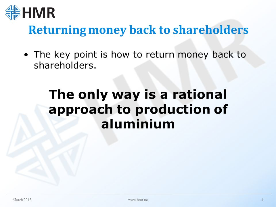 Returning money back to shareholders
