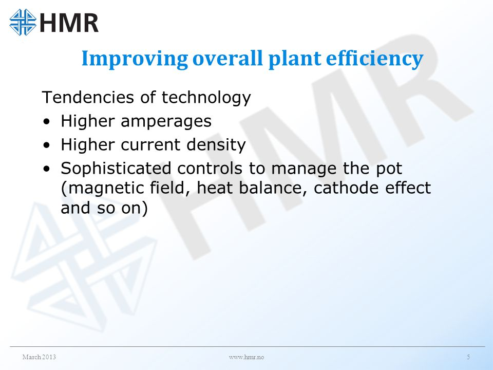 Improving overall plant efficiency