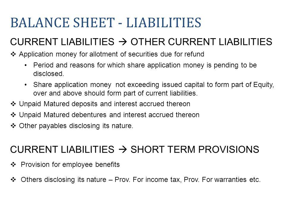Balance sheet - liabilities