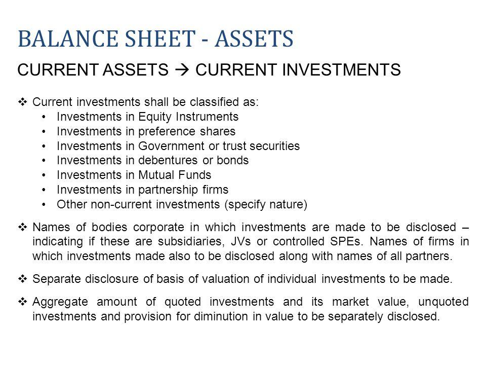 Balance sheet - ASSETS CURRENT ASSETS  CURRENT INVESTMENTS