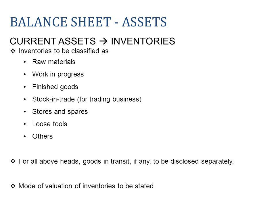 Balance sheet - ASSETS CURRENT ASSETS  INVENTORIES