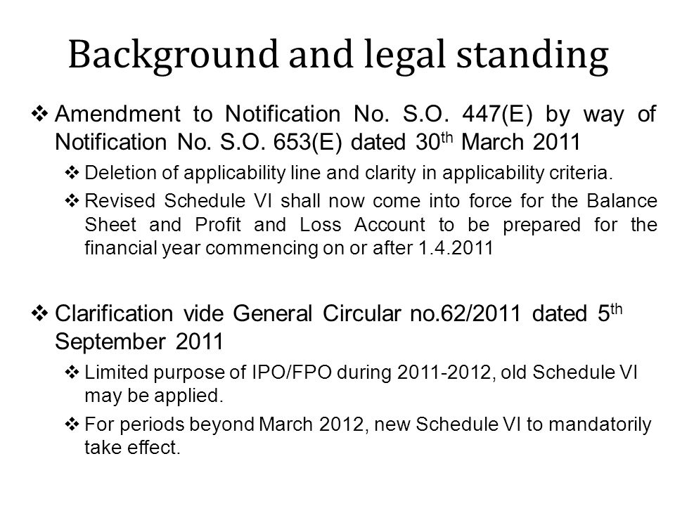 Background and legal standing