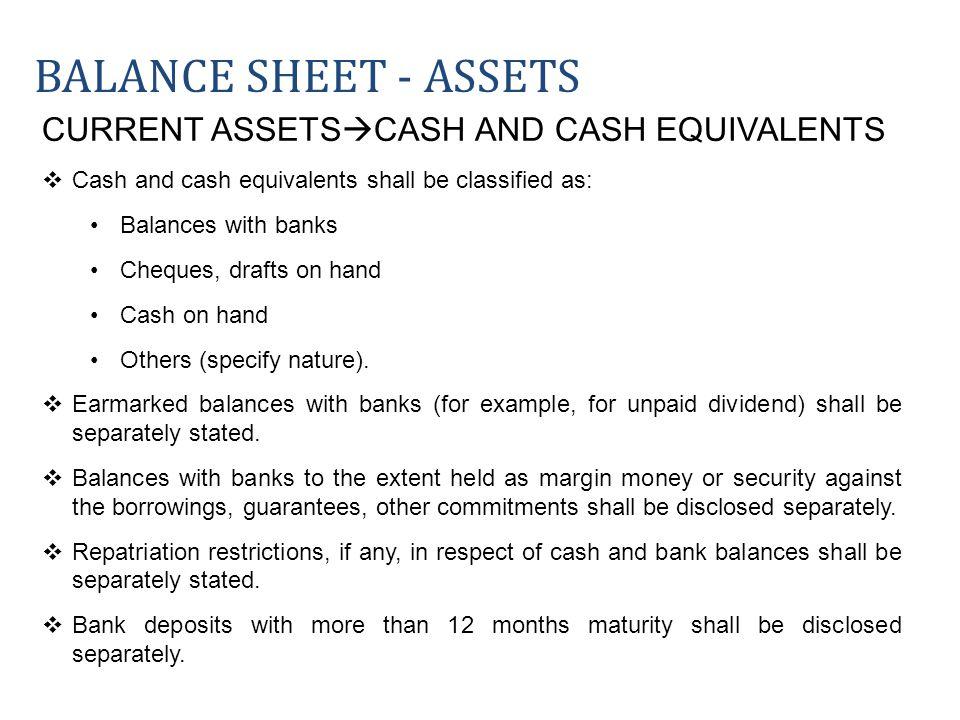 Balance sheet - ASSETS CURRENT ASSETSCASH AND CASH EQUIVALENTS