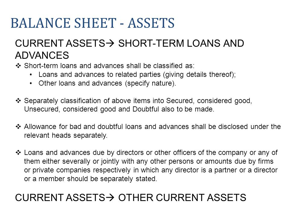 Balance sheet - ASSETS CURRENT ASSETS SHORT-TERM LOANS AND ADVANCES