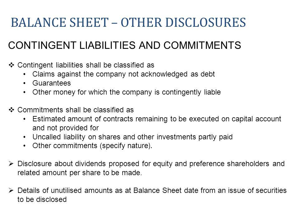 Balance sheet – OTHER DISCLOSURES