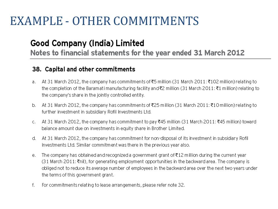 Example - OTHER commitments