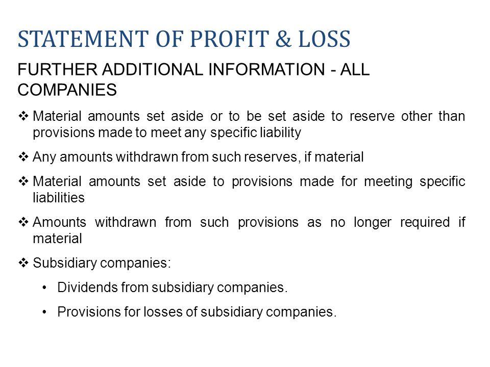STATEMENT OF PROFIT & LOSS