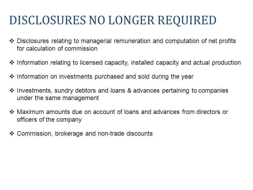 DISCLOSURES NO LONGER REQUIRED