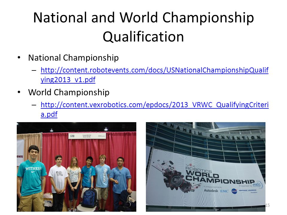 National and World Championship Qualification