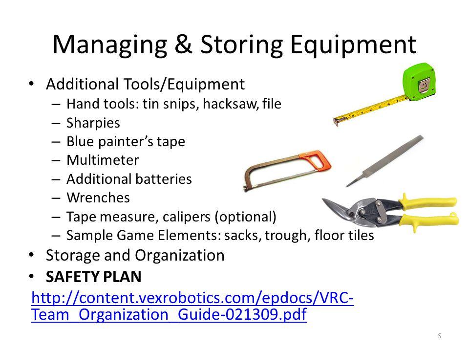 Managing & Storing Equipment