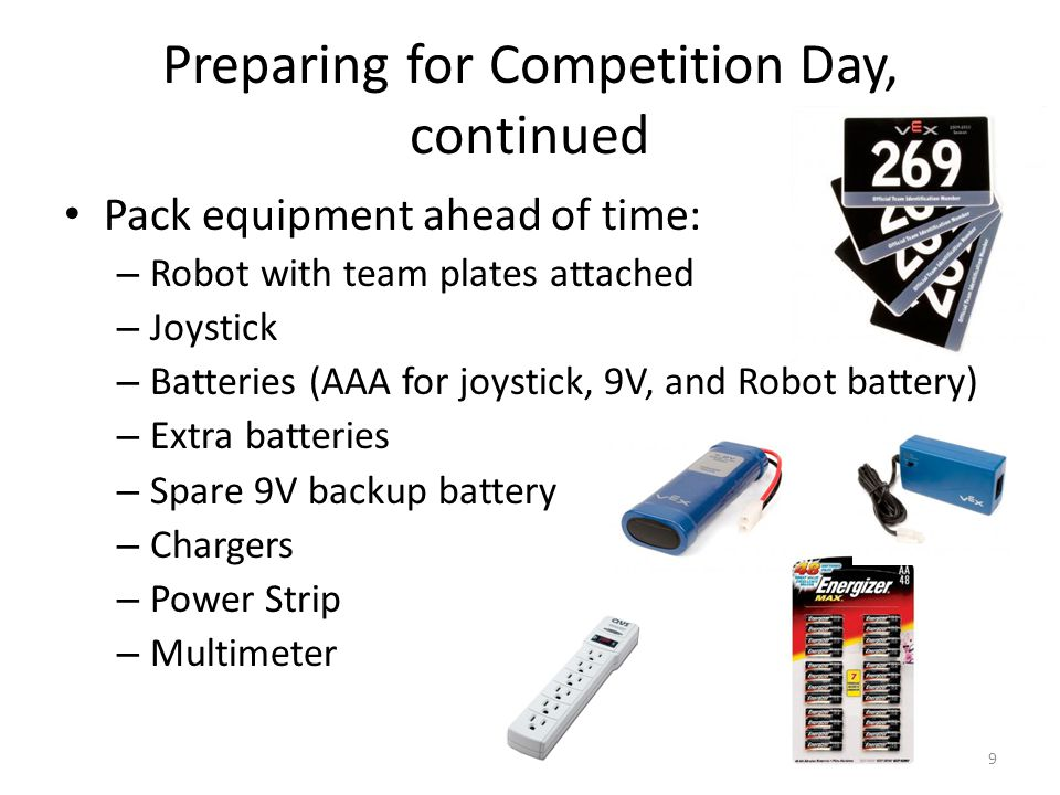 Preparing for Competition Day, continued