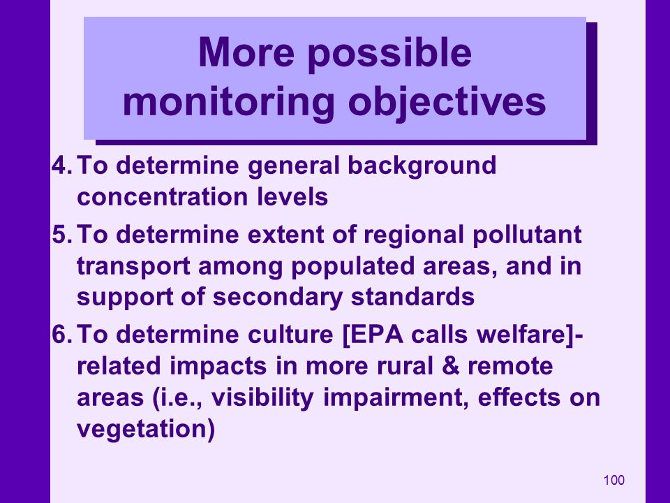 More possible monitoring objectives