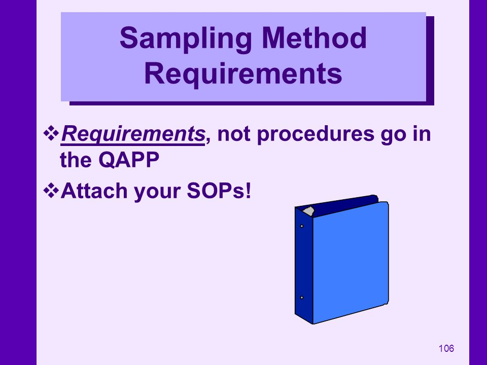 Sampling Method Requirements