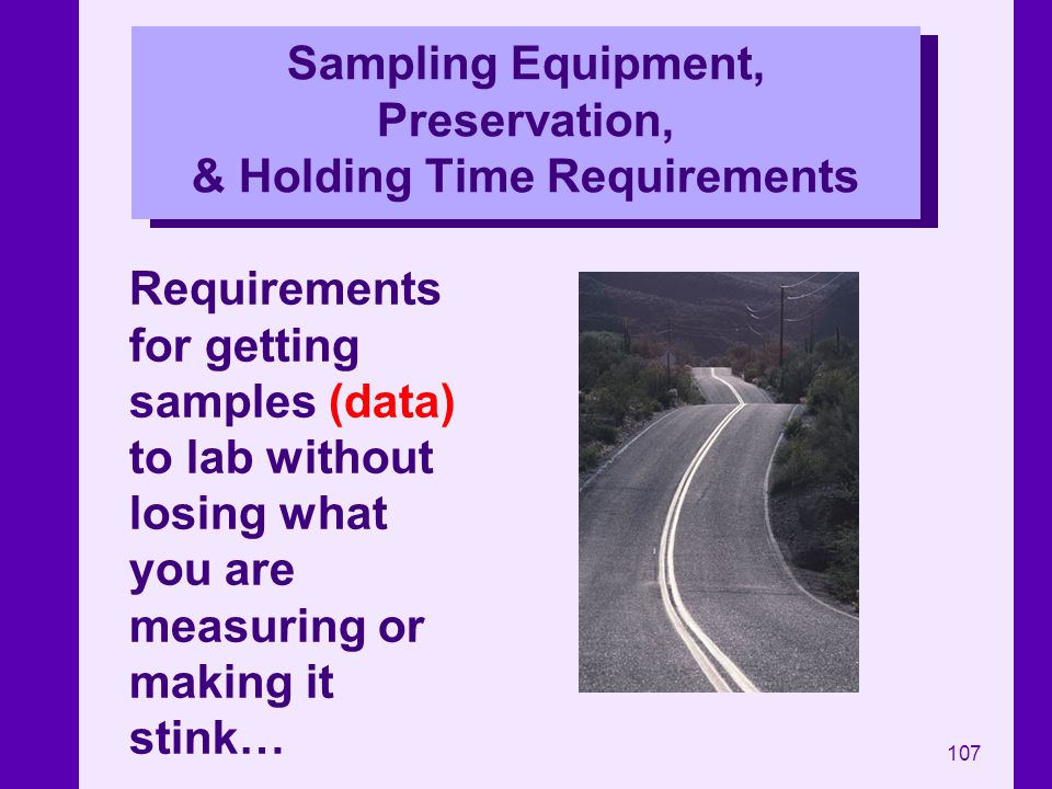 Sampling Equipment, Preservation, & Holding Time Requirements