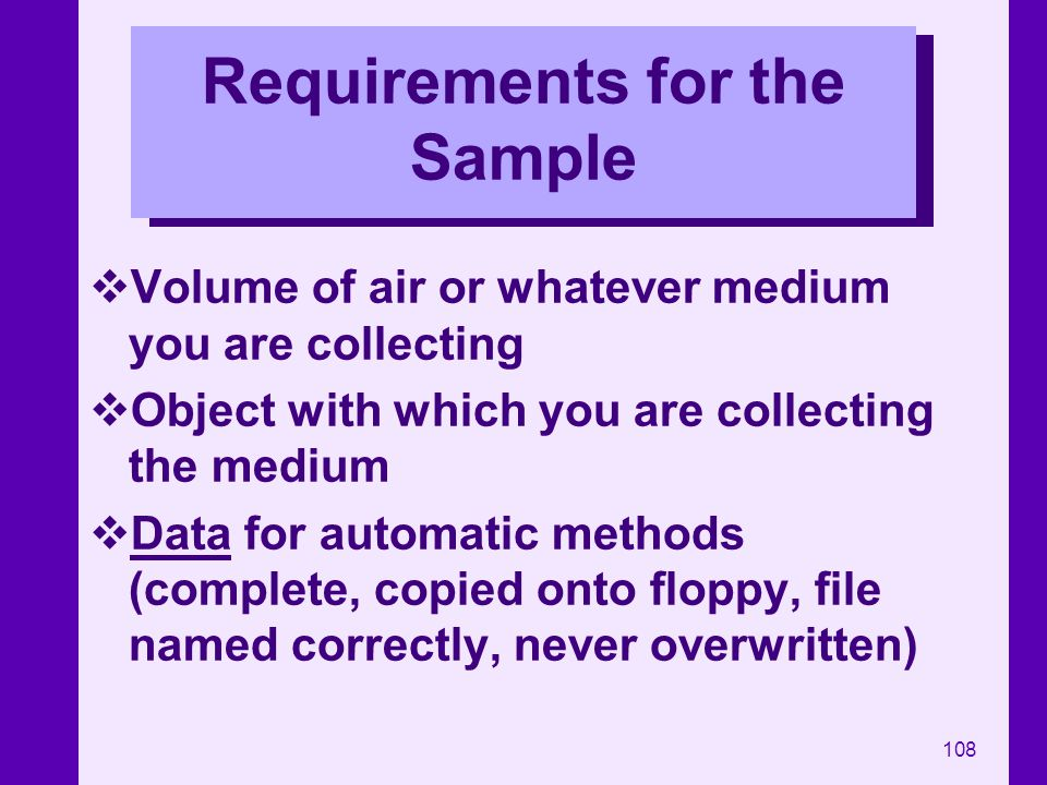Requirements for the Sample