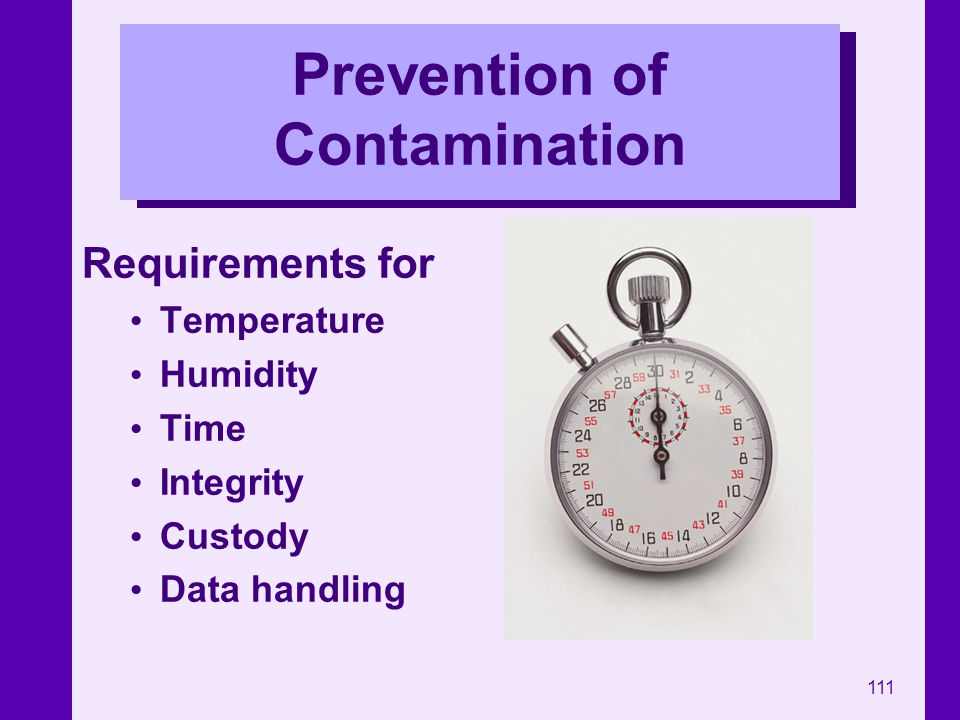 Prevention of Contamination