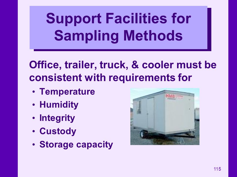 Support Facilities for Sampling Methods